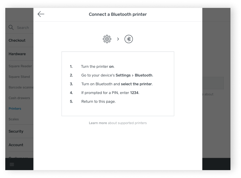 Connect Printer: Turn on printer, Navigate to bluetooth settings on iPad, select Star Micronics, enter PIN number of 1234