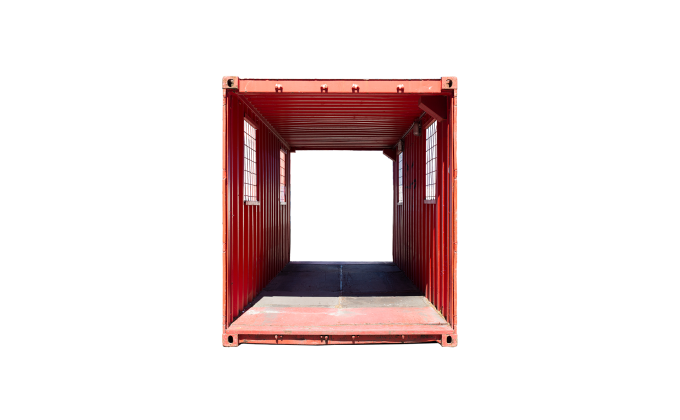 22TU 20FT TUNNEL CONTAINER RENT FRONT RED