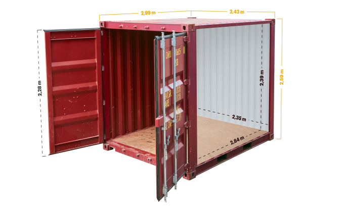 10ft container afmetingen
