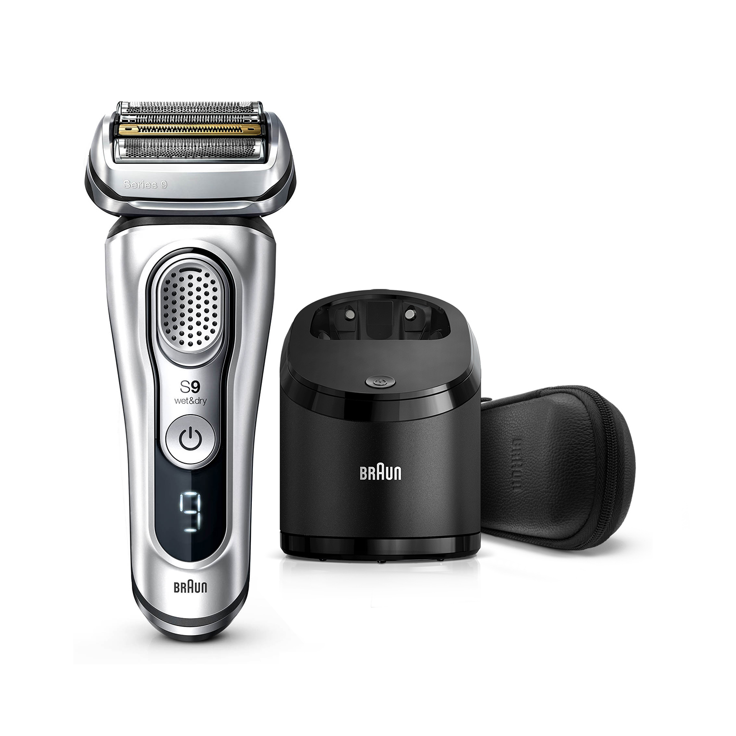Series 9 9390cc Wet & Dry shaver with Clean & Charge station and leather travel case, silver