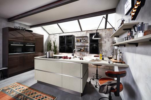 Küche im beton eiche mix
