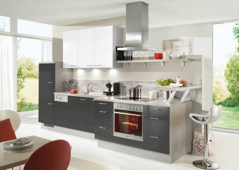 Alle grauen küchen graue küchenzeile mit vorstehendem herd