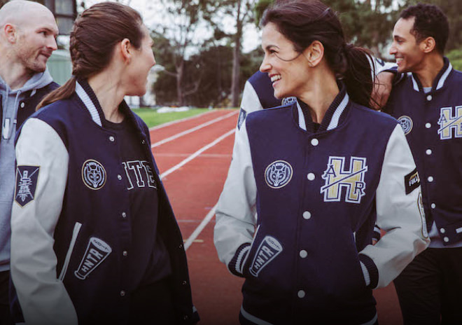 Sports team wearing custom varsity jackets