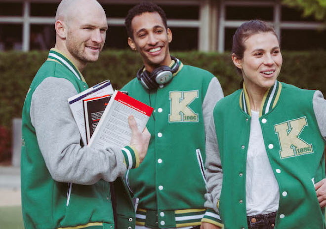 College Students wearing custom varsity jackets