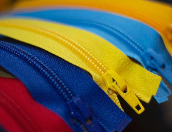 Close up of zips