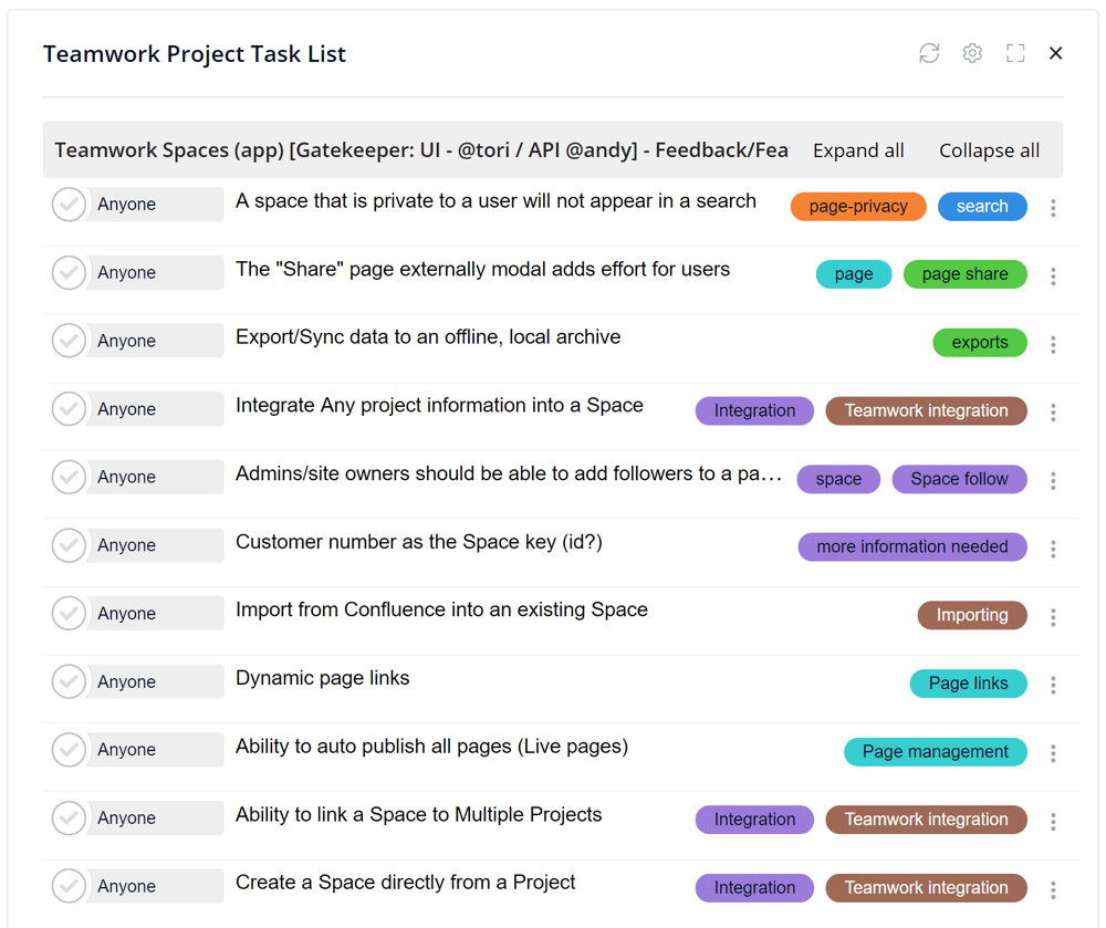 Teamwork projects task lists