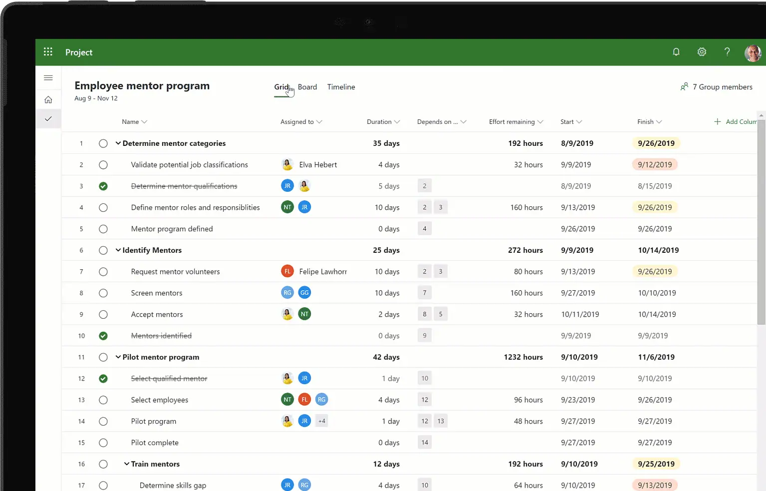 Microsoft Lists project management app example