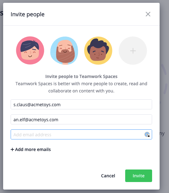 Invite people into Teamwork Spaces