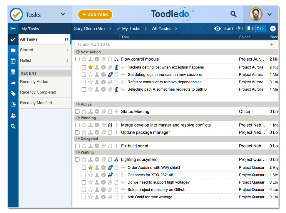 Toodledo project view example