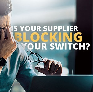 image of man annoyed in front of laptop with caption is your supplier blocking your switch