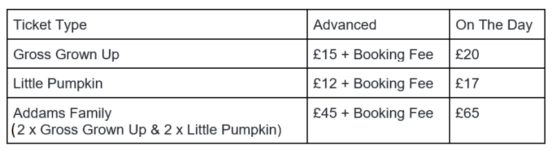 Spooktacular ticket prices