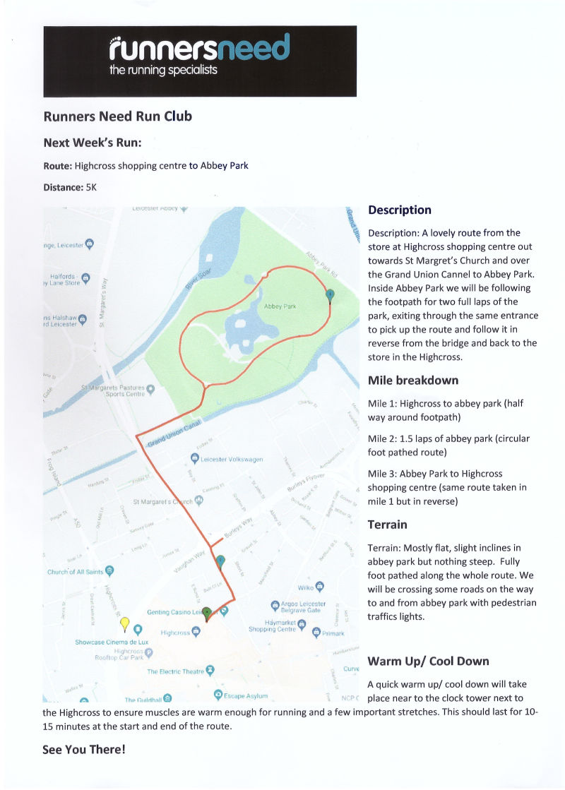 Highcross Runners Need Leicester Run Club Route November 2019