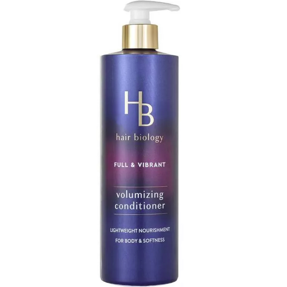 Hair Biology Full & Vibrant Volumizing Conditioner purple bottle on white background