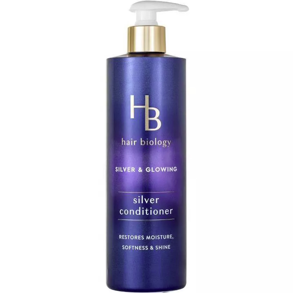 Hair Biology Silver & Glowing Silver Conditioner purple bottle against white background