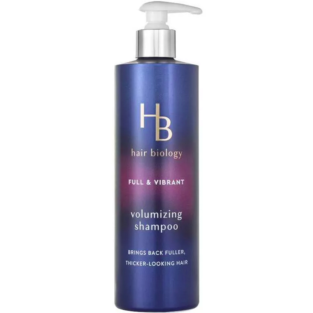 Hair Biology Full & Vibrant Volumizing Shampoo purple bottle on white background