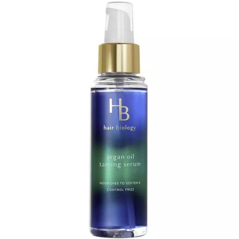 Hair Biology Hair Taming Serum with Argan Oil blue bottle against white background