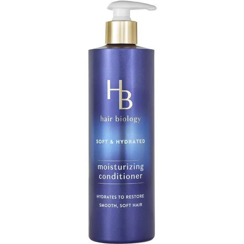 Hair Biology Soft & Hydrated Moisturizing Conditioner purple bottle against white background