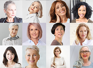 Collage of Women Over 50 with different types of hair