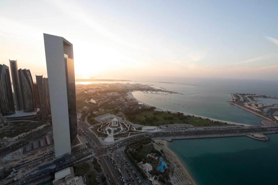 Scenery of Abu Dhabi skyline showcasing ADNOC HQ