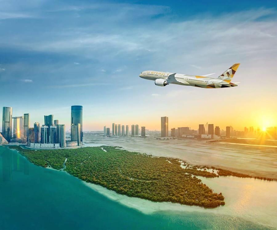 B787 Flying Over Abu Dhabi Mangroves