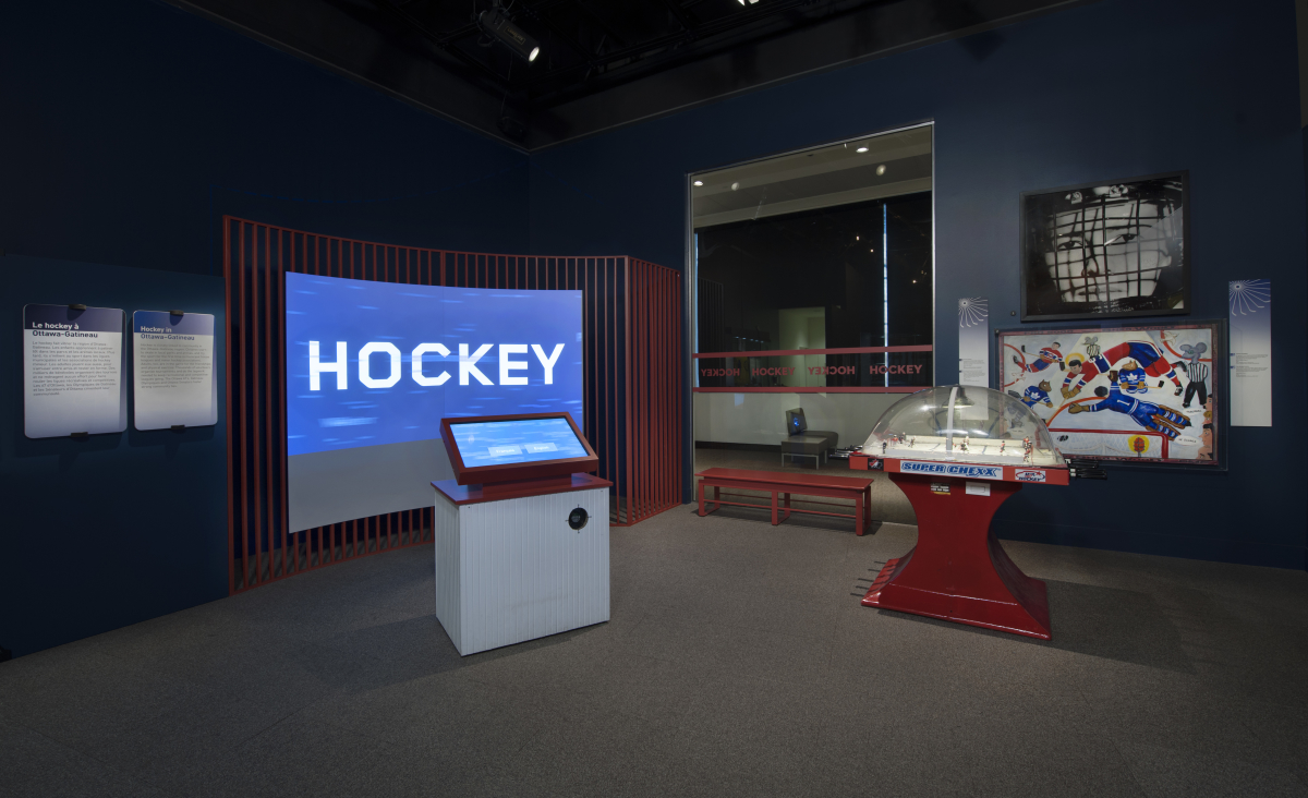 Photo of the Hockey Data Visualization installation in-situ at the museum.