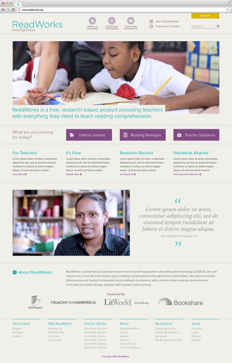 Homepage redesign comp for Readworks.org highlighting key paths for teachers.