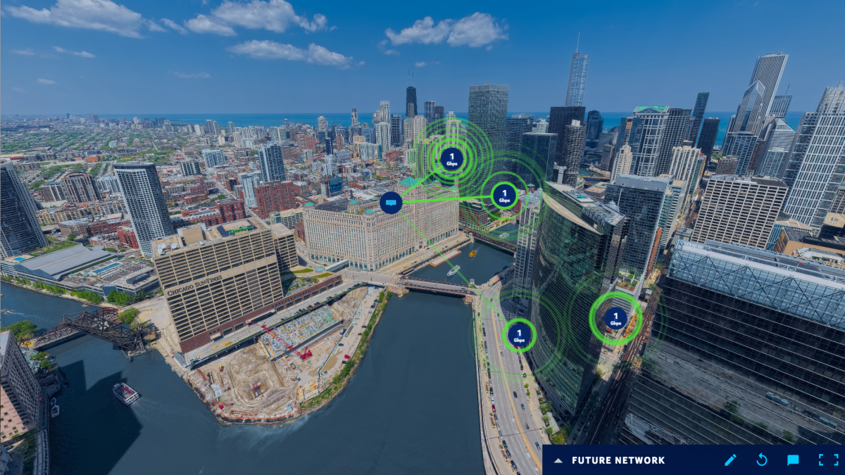 Interface showing Chicago skyline with example future network.