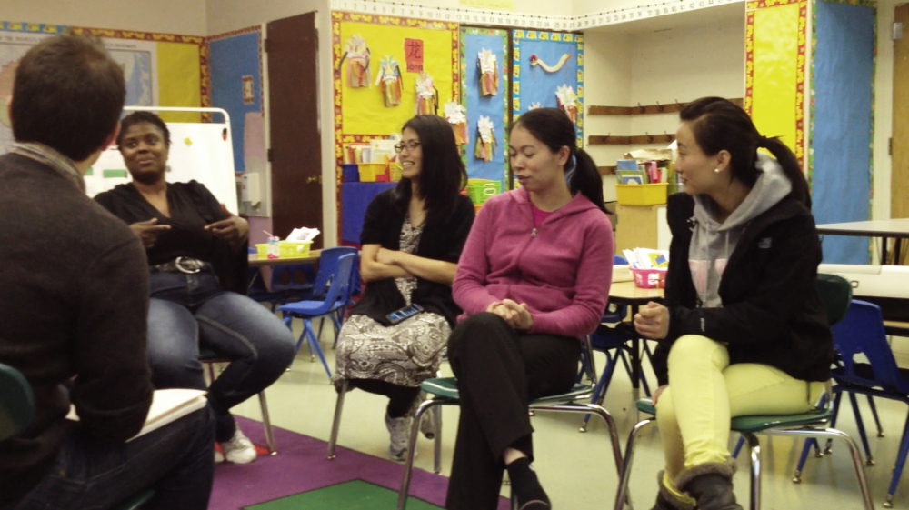 Upswell team members conduct research with teachers in Brooklyn, New York.