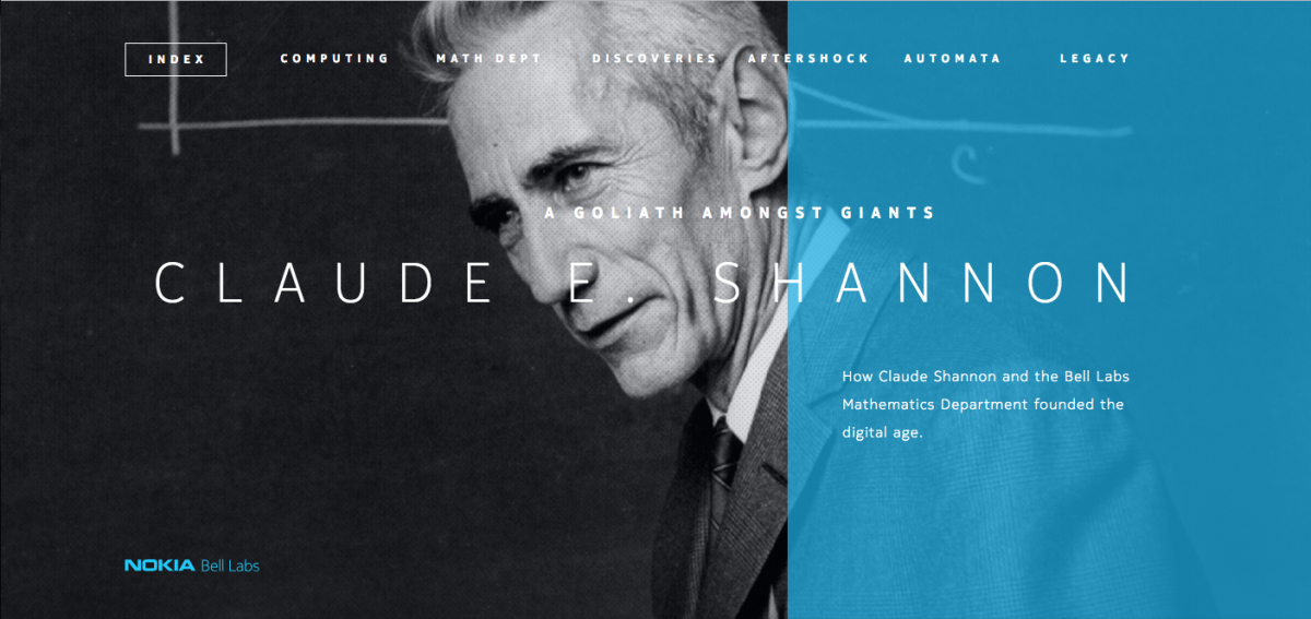 Screenshot of the Claude E. Shannon website homepage.