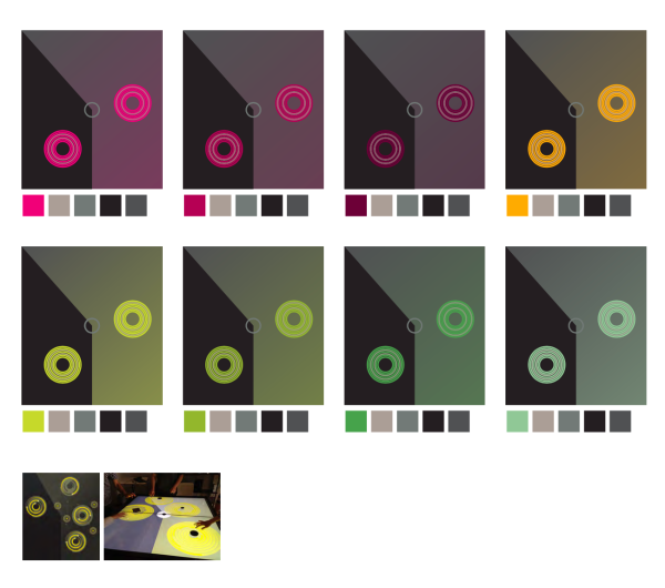 Color study for the Circle of Fifths Harmony table, based on exhibit brand guide. As the key changes, the color changes.
