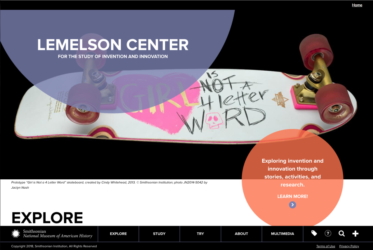 Screenshot of the Lemelson Center for the Study of Invention and Innovation homepage.