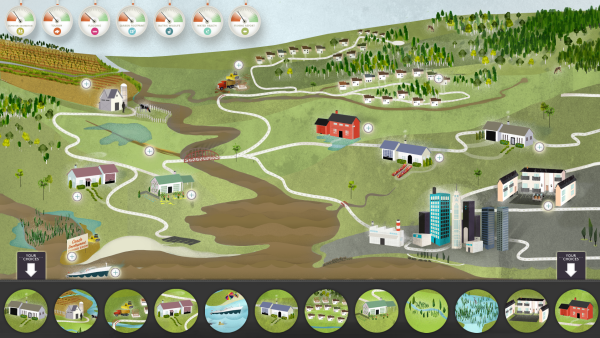 Screenshot of the Old Woman Creek reactive estuary showing poor watershed health.