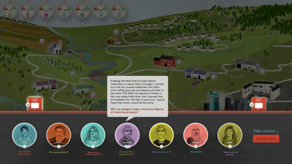 Screenshot of the Old Woman Creek community voices screen where visitor hear people from the community talk about how the watershed health affects their lives.