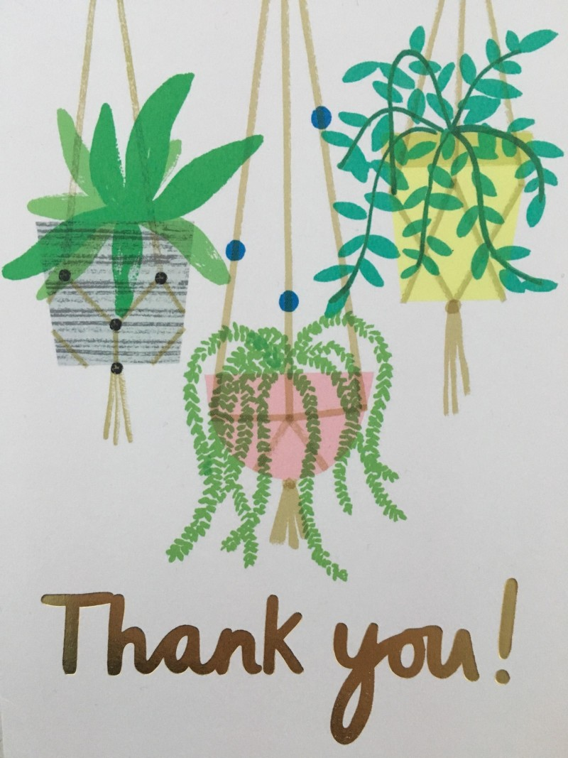 A picture of a 'thank you' card