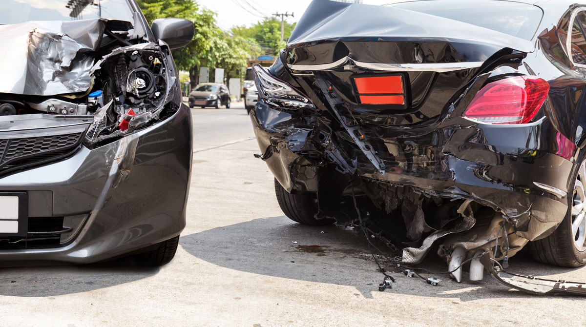 two cars seriously damaged after they crashed with each other