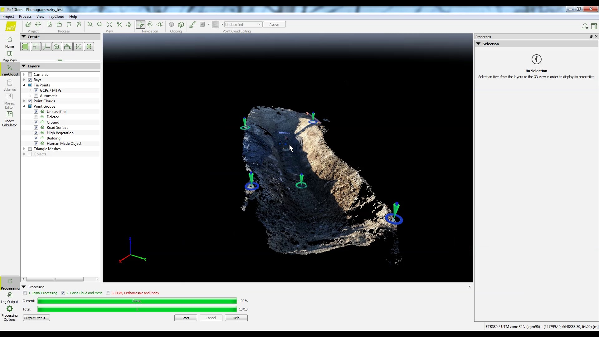 processing a map acquired by videogrammetry