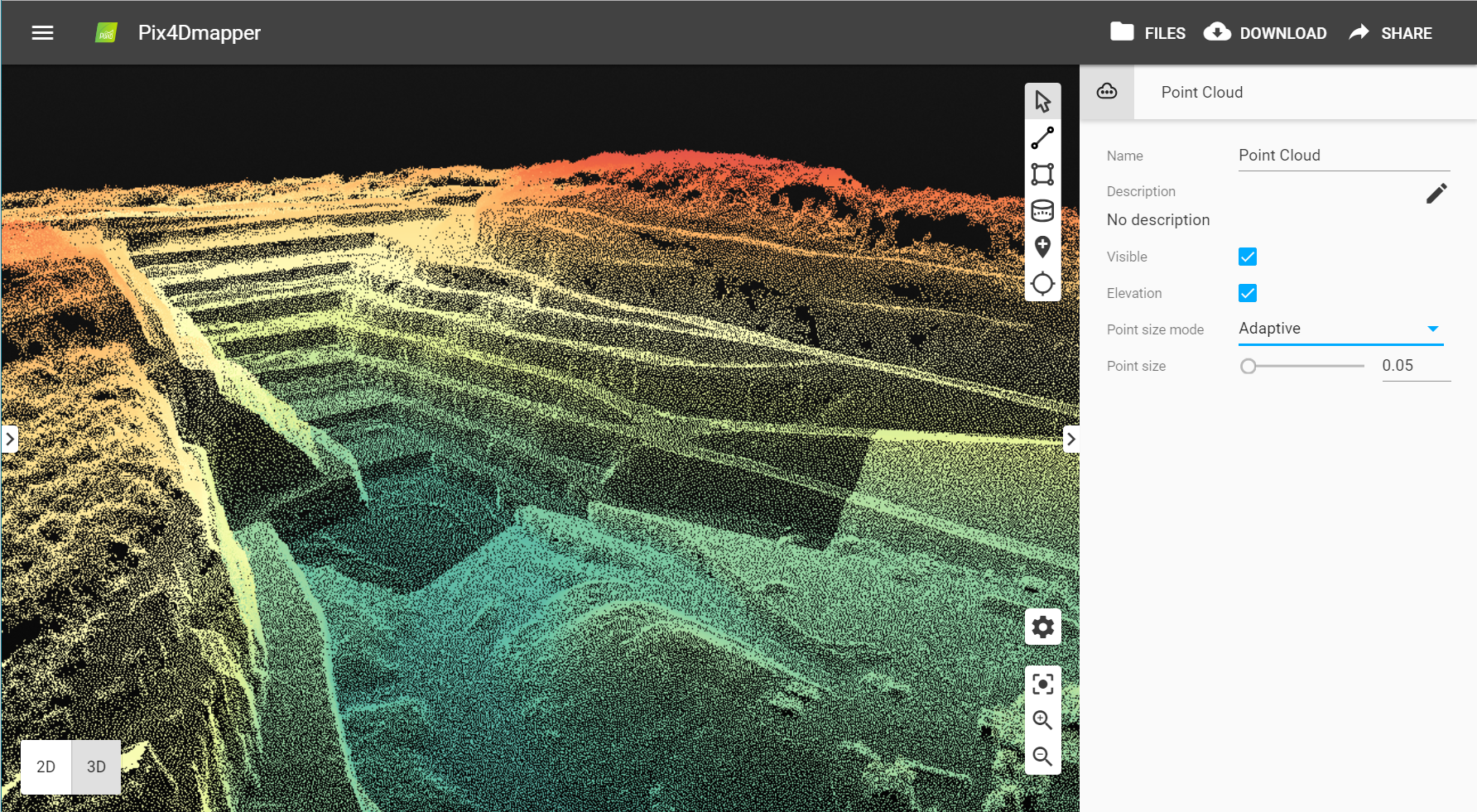 The new elevation point cloud color scale