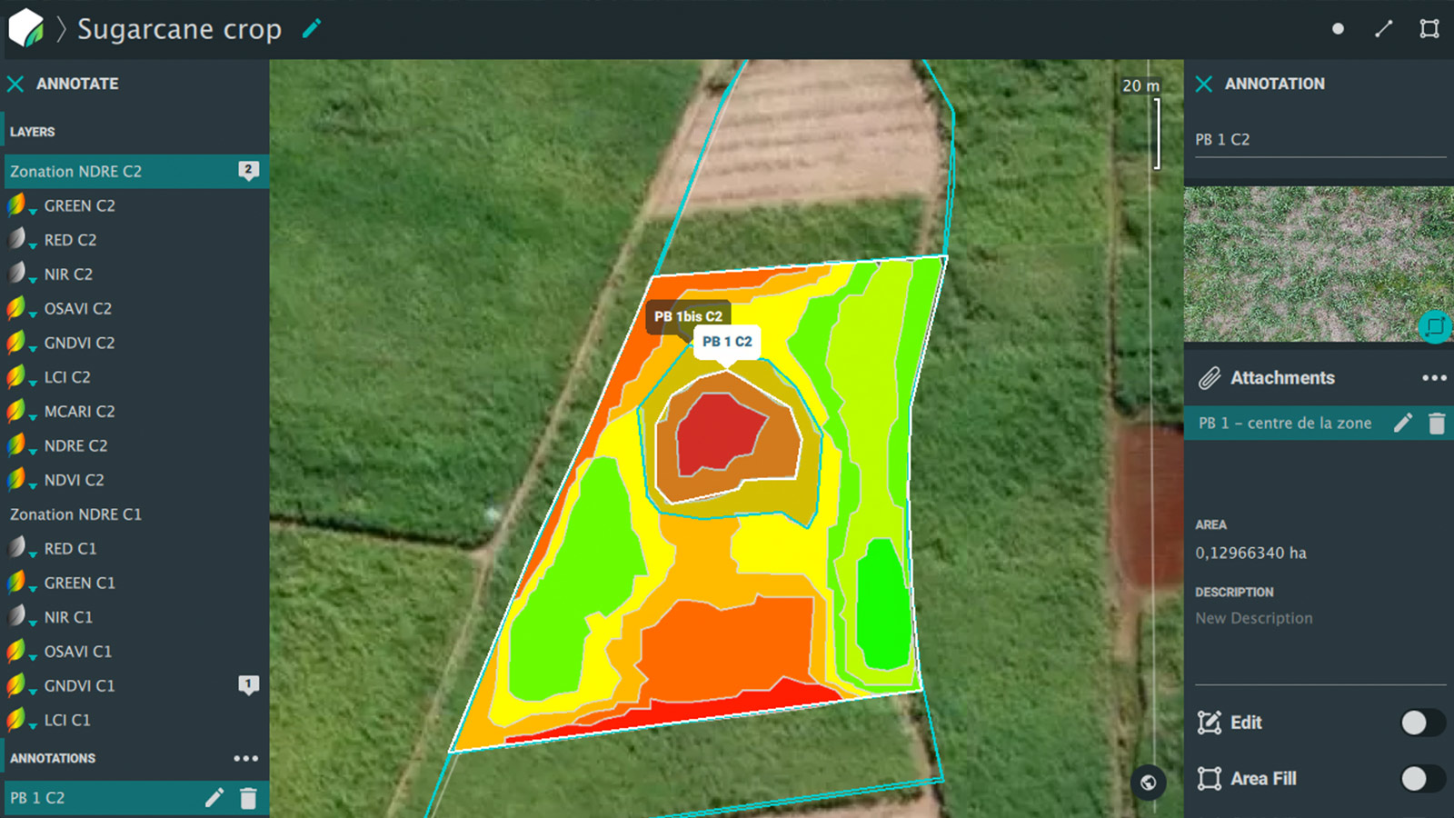 Pix4Dfields zonation map showing different levels of crop damage