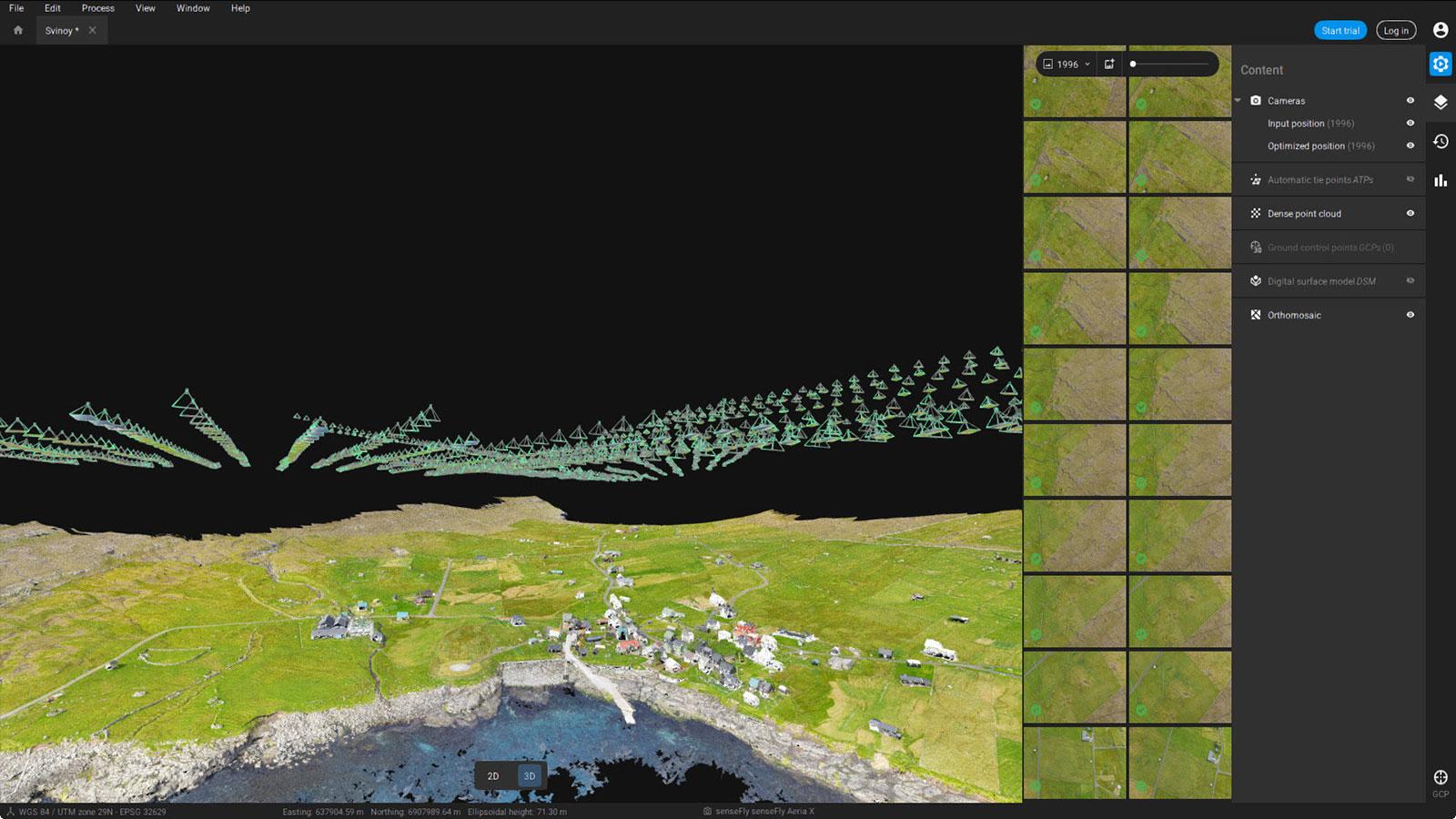 Pix4Dmatic interface of Svinoy island model