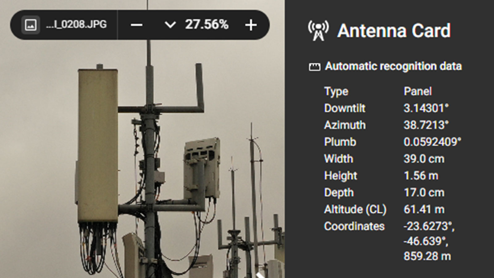 Antenna card in Pix4Dinspect