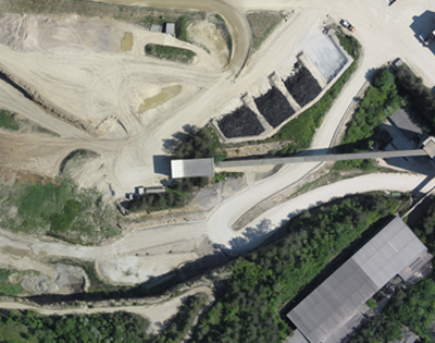 An aerial map of a stockpile on a mine site