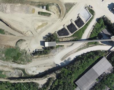 An aerial map of a stockpile on a mine site