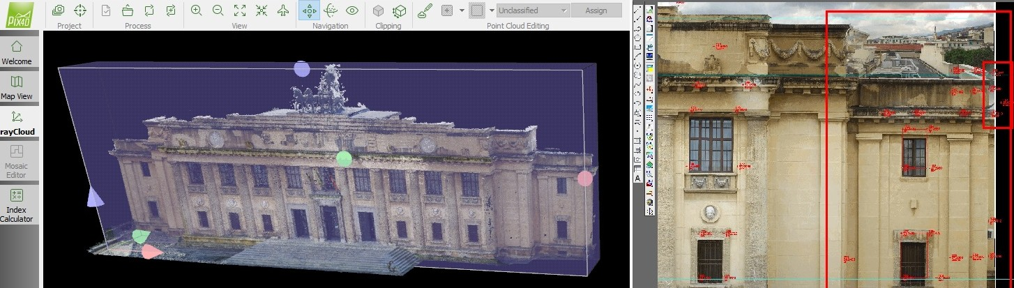 Screenshots of the project in two different softwares - Pix4Dmapper and a CAD program.