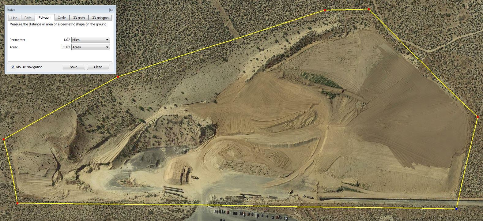 A quarry where the Nevada Department of Transportation tested the optimal number of Ground Control Points.