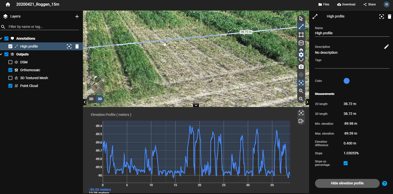 photogrammetrisch ermittelte Höhendifferenz in der Pix4D Cloud