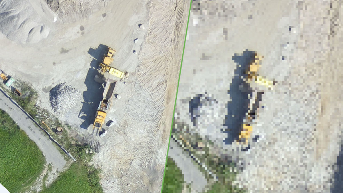 Differences in ground resolution in aerial mapping