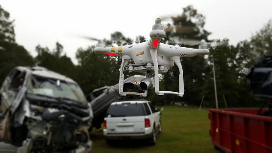 A drone getting ready to fly the crash scene.