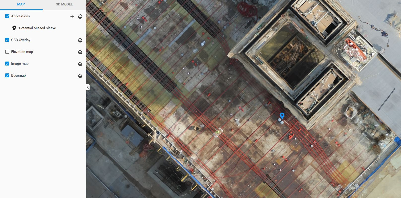 Verifying slab elements with Pix4D Crane Camera
