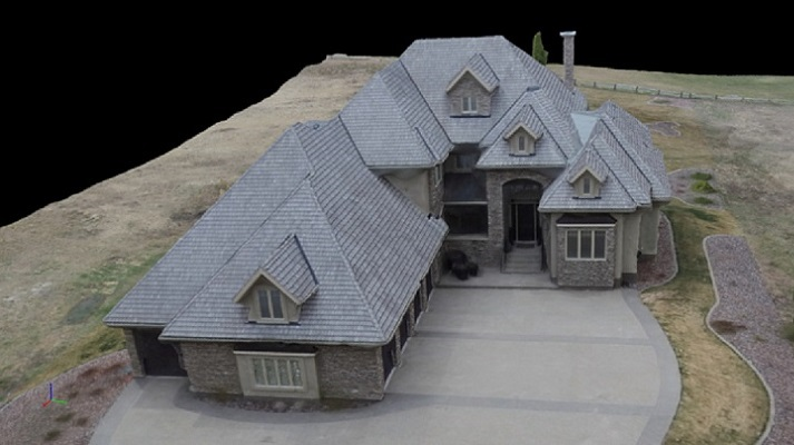 Front aerial view of house.