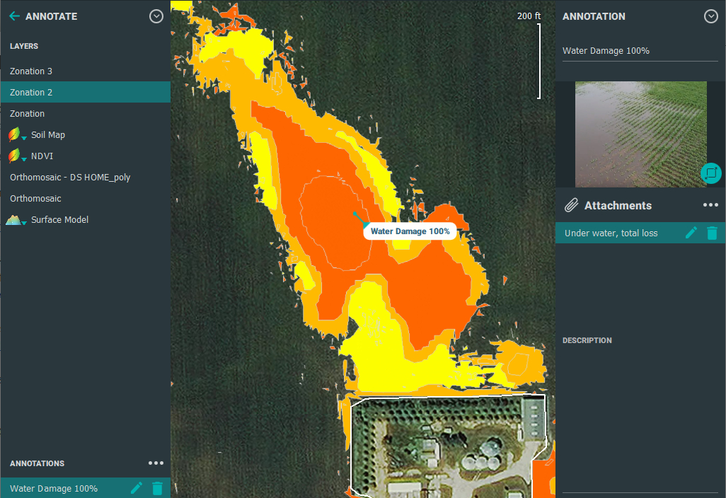 Zonation map of crop damage severity using agriculture drone mapping software in Iowa